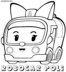 coloring pages detail description 4pcs set robocar poli