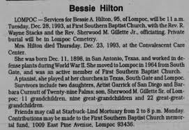 Obituary for Bessie A. Hilton (Aged 95) - Newspapers.com
