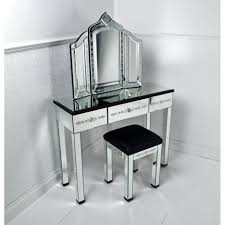 Mirror Bedroom Furniture Glass Vanity Dressing Table With Three Fold Mirror And Glass Based