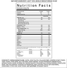 Light 100 Whole Wheat 40 Calories Per Slice Natures Harvest