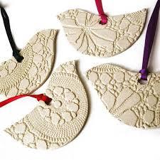 4 Ceramic Bird Christmas Ornaments Modern Classic Cream Pottery Christmas  tree decorations Friends or Teachers gift