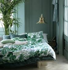 emerald green bedding botanical tropical plants duvet cover set modern jungle leaves branches fl print percent