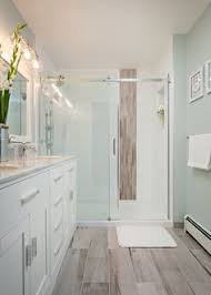 Wood Tile Flooring Bathroom This Mixture Of Textures And Colours Gives Inside Perfect Ideas