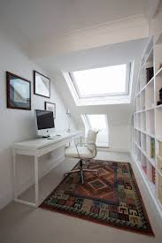 contemporary home office design with besta burs desk from ikea and white chair