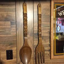 large wood spoon and fork wall art wood spoon wall decor walls decor
