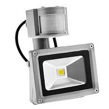pir 10w 900lm outdoor motion sensor day night 6000k cool white light led flood light