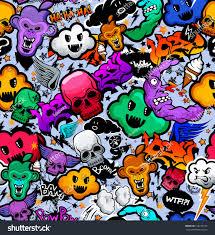 Graffiti Cartoon Bizarre Funky Characters Seamless Stockvector
