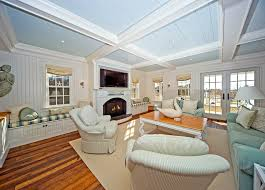 Coastal Beadboard Ceiling Living Room