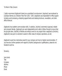 Work Experience Reference Letter Template Volunteer