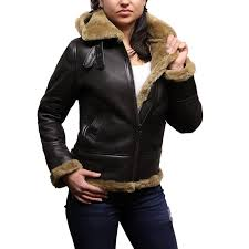 las women s hooded aviator real shearling sheepskin flying leather jacket coat callie