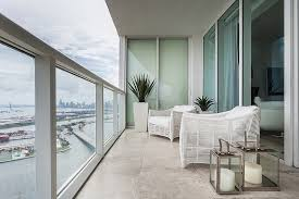 Modern Balconies Interior Design Ideas. White finished loggia with the  glass fence