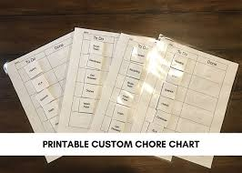 Autism Or Homeschool Printable Chore Chart Customizable