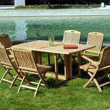 7 pc teak patio folding table and