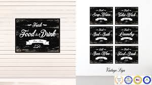 fresh food drink vintage sign black canvas print home decor wall art gifts picture frames on food and drink wall art with fresh food drink vintage sign home decor wall art gift ideas
