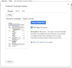 create resume Google Docs e