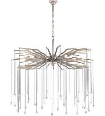 elegant lighting 1539d36das willow 6 light 36 inch drizzled antique sliver chandelier ceiling light urban classic