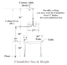 chandelier size for dining room. Standard Height Of Dining Tables Table Bar . Chandelier Size For Room O