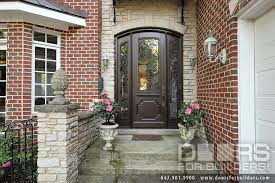 iron front doorsCustom Solid Mahogany Wood Door with Two Sidelites and Wrought