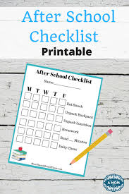 School Checklist Printable After School Checklist Archives More Than A Mom Of Three