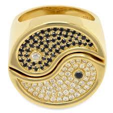 <b>2</b>-<b>Piece</b> Yin Yang Ring in 18k <b>Gold</b> with White & Black Diamonds22 ...