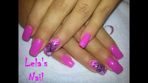pink butterfly nail art gelish candyland gel nails tutorial - YouTube