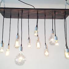 rustic industrial chandelier edison bulbs reclaimed wood urba