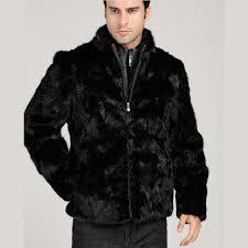 men s faux mink fur coat black warm zippers leather jacket loose casual