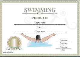 Sports Certificates Certificate Of Achievement In Swimming