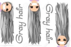ベクターグラフィックスの女の子灰色の髪緩やかな長いストレート髪