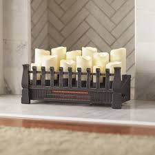 home decorators collection brindle flame 20 in candle electric fireplace insert with infrared heater