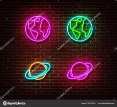 Planet Neon Light Neon Planet Sign Vector Isolated On Brick Wall Stock