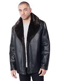 men s faux leather and faux fur coat