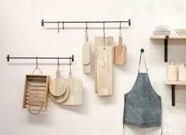 black iron kitchen hanging rail and s hooks laila by nu kitchen utensil storage