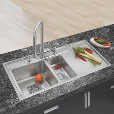 anupam snless steel double bowl sink with drainboard