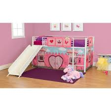 bunk bed with slide for girls. Girls\u0026apos; FairyTale Twin Loft Bed With Slide, Bunk Slide For Girls