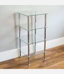 home 4 tier glass shelf unit clear