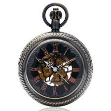 cool blue dial skeleton mechanical hand winding luxury hollow case with fob pocket watches with chain