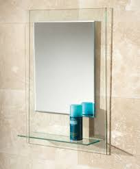 Bevelled Bathroom Mirror Hib Fuzion Bevelled Edge Mirror With Glass Shelf 72300100