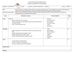 Planeacion De Clases Pta Grado Cuarto By Guillosuarezsierra