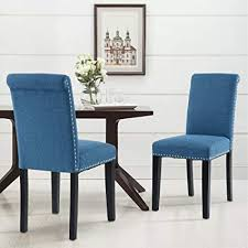 lsspaid dining chair set of 2 fabric padded side chair with solid wood legs nailed