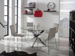 modern round glass ruth dining table choice of chrome or white legs