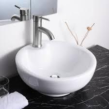 aquaterior 16 3 8 dia x6 2 3 h round white porcelain ceramic bathroom sink w free chrome drain and overflow com