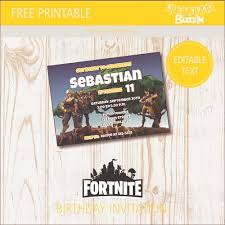 Free Birthday Invitations Free Printable Fortnite Birthday Party Invitations Birthday Buzzin
