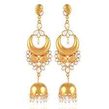 silver and gold chandelier sterling silver gold plated chandelier jhumka earring with white crystal and pearl