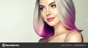 Krásné Vlasy Barvení žena Módní Trendy účes Krátký účes Bob Stock