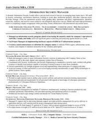 Security Supervisor Resume Interesting Information Security Manager Resume