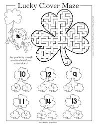 lucky clover maze worksheet solving equations coloring two step st day