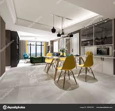 Rendering Moderne Esszimmer Und Küche Der Nähe Von