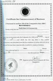 A brief introduction of zenith islami life insurance ltd. Certificate Of Commencement Page 2 Line 17qq Com
