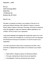 Job Application Letter For Software Engineer With Modern Resume Software Developer Cover Letter Examples Writing Tips